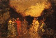 Adolphe-Joseph Monticelli Twilight Promenade in a Park oil painting picture wholesale