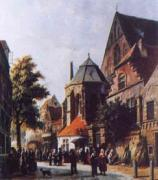 Adrianus Eversen A Dutch Market Scene 3 oil painting
