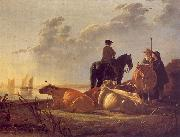 Aelbert Cuyp Cattle with Horseman and Peasants oil