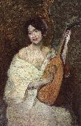 Alden J Weir Lady with a Mandolin oil painting artist