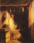 Alexandre Gabriel Decamps Turkish Merchant smoring in His shop oil painting artist