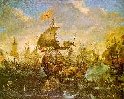 Andries van Eertvelt The Battle of the Spanish Fleet with Dutch Ships in May 1573 During the Siege of Haarlem oil painting picture wholesale