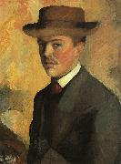 August Macke Self Portrait with Hat  qq oil