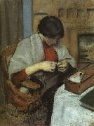 August Macke Elisabeth Gerhardt Sewing oil