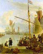 BACKHUYSEN, Ludolf View from the Mussel Pier in Amsterdam hh oil