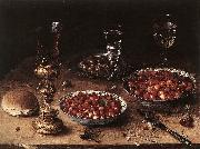 BEERT, Osias Still-Life with Cherries and Strawberries in China Bowls oil painting