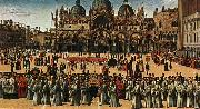BELLINI, Gentile Procession in Piazza S. Marco oil