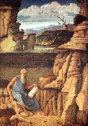 BELLINI, Giovanni St Jerome Reading in the Countryside oil painting artist