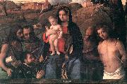 BELLINI, Giovanni Madonna and Child with Four Saints and Donator oil painting picture wholesale