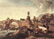 BERCHEM, Nicolaes Italian Landscape with Bridge  ddd oil