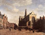 BERCKHEYDE, Gerrit Adriaensz. The Market Square at Haarlem with the St Bavo oil painting artist