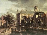 BERCKHEYDE, Gerrit Adriaensz. Amsterdam, the Nieuwezijds near the Bloemmarkt oil painting artist