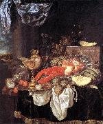 BEYEREN, Abraham van Large Still-life with Lobster oil
