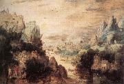 BLES, Herri met de Landscape with Christ and the Men of Emmaus fdg oil