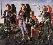 BOTTICINI, Francesco The Three Archangels with Tobias f oil painting artist