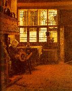 BOURSSE, Esaias Interior with a Woman at a Spinning Wheel fdgd oil