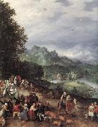 BRUEGHEL, Jan the Elder A Flemsh Fair (detail) f oil