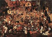 BRUEGHEL, Pieter the Younger Battle of Carnival and Lent f oil