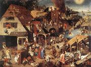 BRUEGHEL, Pieter the Younger Proverbs fd oil