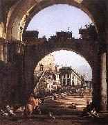 Bernardo Bellotto Capriccio of Capital oil