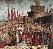 CARPACCIO, Vittore The Pilgrims Meet the Pope (detail) kk oil painting