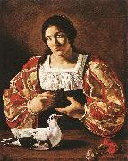CECCO DEL CARAVAGGIO Woman with a Dove sdv oil painting artist