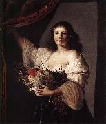 COUWENBERGH, Christiaen van Woman with a Basket of Fruit fgf oil