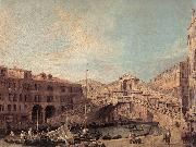 Canaletto Grand Canal: The Rialto Bridge from the South f oil