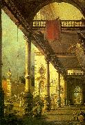 Canaletto Capriccio, A Colonnade opening onto the Courtyard of a Palace oil painting artist