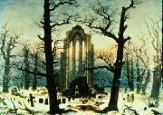 Caspar David Friedrich Cloister Cemetery in the Snow oil painting picture wholesale