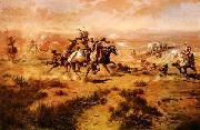 Charles M Russell The Attack on the Wagon Train oil painting picture wholesale