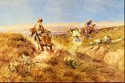 Charles M Russell When Cows Were Wild oil painting artist