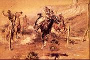 Charles M Russell The Getaway oil painting artist