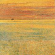 Childe Hassam Sunset at Sea oil