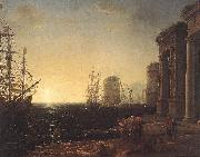 Claude Lorrain Harbour Scene at Sunset fg oil painting artist
