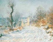 Claude Monet Road to Giverny in Winter oil painting picture wholesale