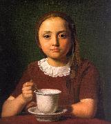 Constantin Hansen Little Girl with a Cup oil painting artist