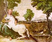 Domenichino The Maiden and the Unicorn oil painting