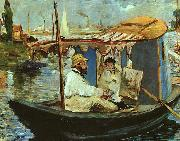 Edouard Manet Claude Monet Working on his Boat in Argenteuil oil painting picture wholesale