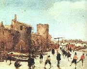 Esaias Van de Velde Skaters on the Moat by the Walls oil painting picture wholesale