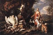 FYT, Jan Diana with Her Hunting Dogs beside Kill  dfg oil painting picture wholesale