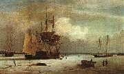 Fitz Hugh Lane Ships Stuck in Ice off Ten Pound Island, Gloucester oil painting artist