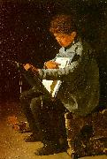 Francois Bonvin Seated Boy with a Portfolio oil painting