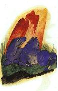 Franz Marc Two Blue Horses in front of a Red Rock oil painting picture wholesale