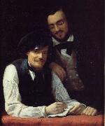 Franz Xaver Winterhalter Self Portrait of the Artist with his Brother, Hermann oil painting picture wholesale