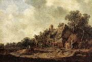 GOYEN, Jan van Peasant Huts with a Sweep Well sdg oil painting artist