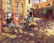 George Hitchcock Dutch Flower Girls oil painting picture wholesale