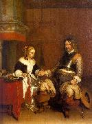 Gerard Ter Borch Soldier Offering a Young Woman Coins France oil painting reproduction