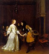 Gerard Ter Borch An Officer Making his Bow to a Lady oil painting picture wholesale