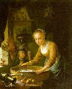 Gerrit Dou Girl Chopping Onions oil painting artist